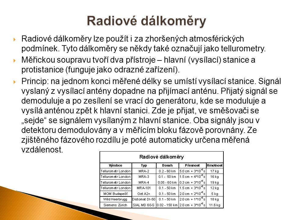  Radiové dálkoměry lze použít i za zhoršených atmosférických podmínek. Tyto dálkoměry se někdy také označují jako tellurometry.  Měřickou soupravu t