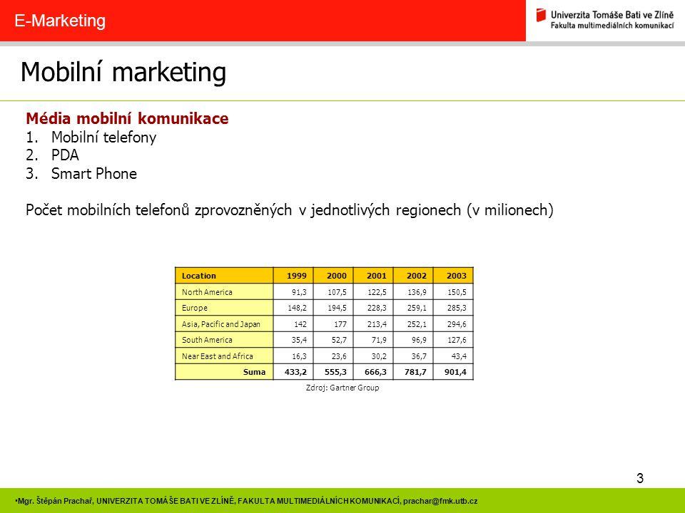 3 Mgr. Štěpán Prachař, UNIVERZITA TOMÁŠE BATI VE ZLÍNĚ, FAKULTA MULTIMEDIÁLNÍCH KOMUNIKACÍ, prachar@fmk.utb.cz Mobilní marketing E-Marketing Média mob