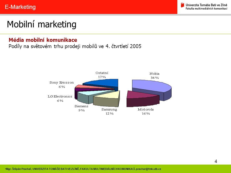 4 Mgr. Štěpán Prachař, UNIVERZITA TOMÁŠE BATI VE ZLÍNĚ, FAKULTA MULTIMEDIÁLNÍCH KOMUNIKACÍ, prachar@fmk.utb.cz Mobilní marketing E-Marketing Média mob