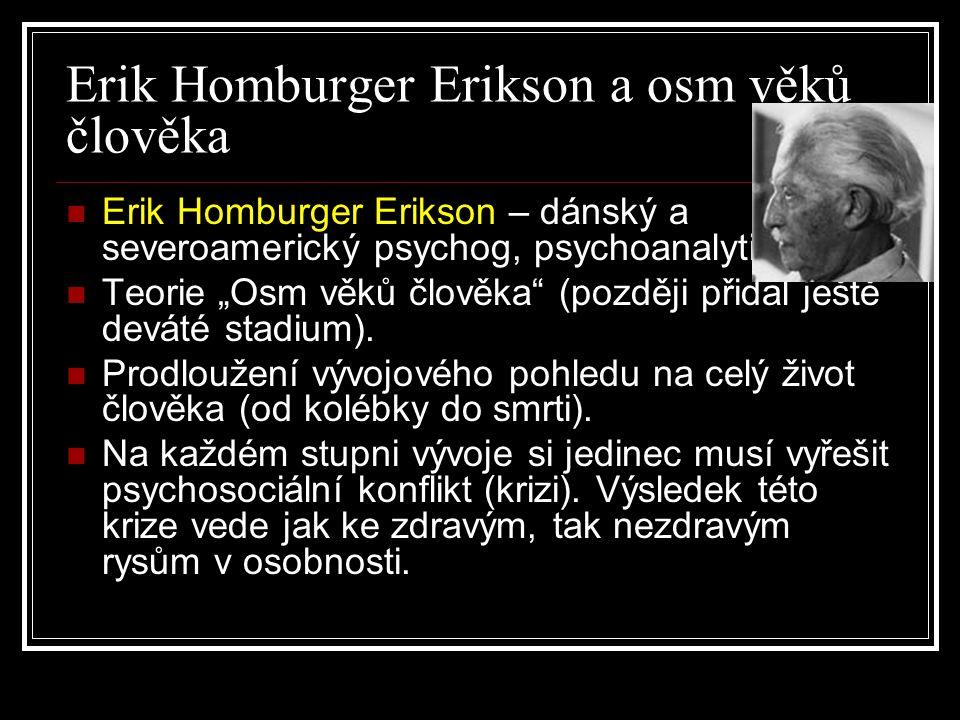 """Erik Homburger Erikson a osm věků člověka Erik Homburger Erikson – dánský a severoamerický psychog, psychoanalytik. Teorie """"Osm věků člověka"""" (později"""