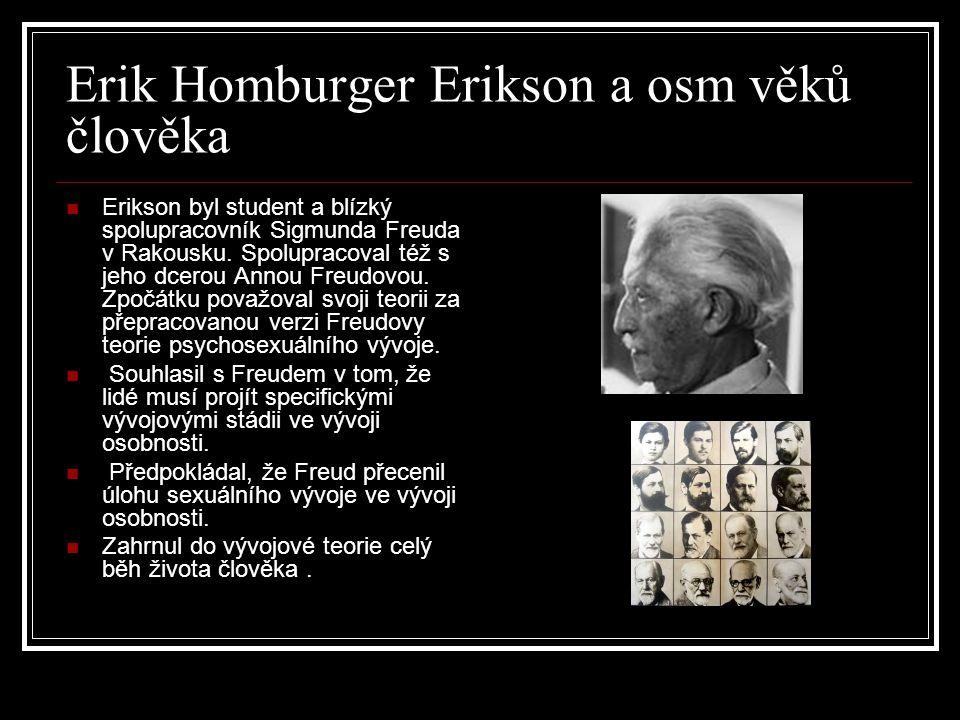 Erik Homburger Erikson a osm věků člověka Erikson byl student a blízký spolupracovník Sigmunda Freuda v Rakousku. Spolupracoval též s jeho dcerou Anno