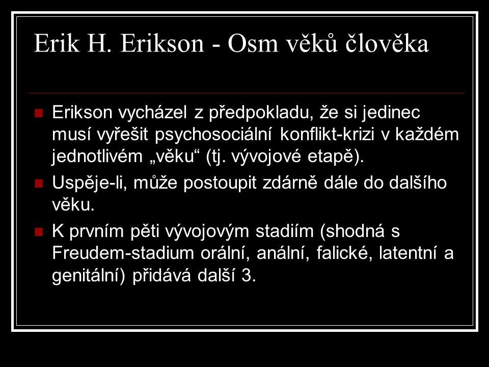 """Erik H. Erikson - Osm věků člověka Erikson vycházel z předpokladu, že si jedinec musí vyřešit psychosociální konflikt-krizi v každém jednotlivém """"věku"""