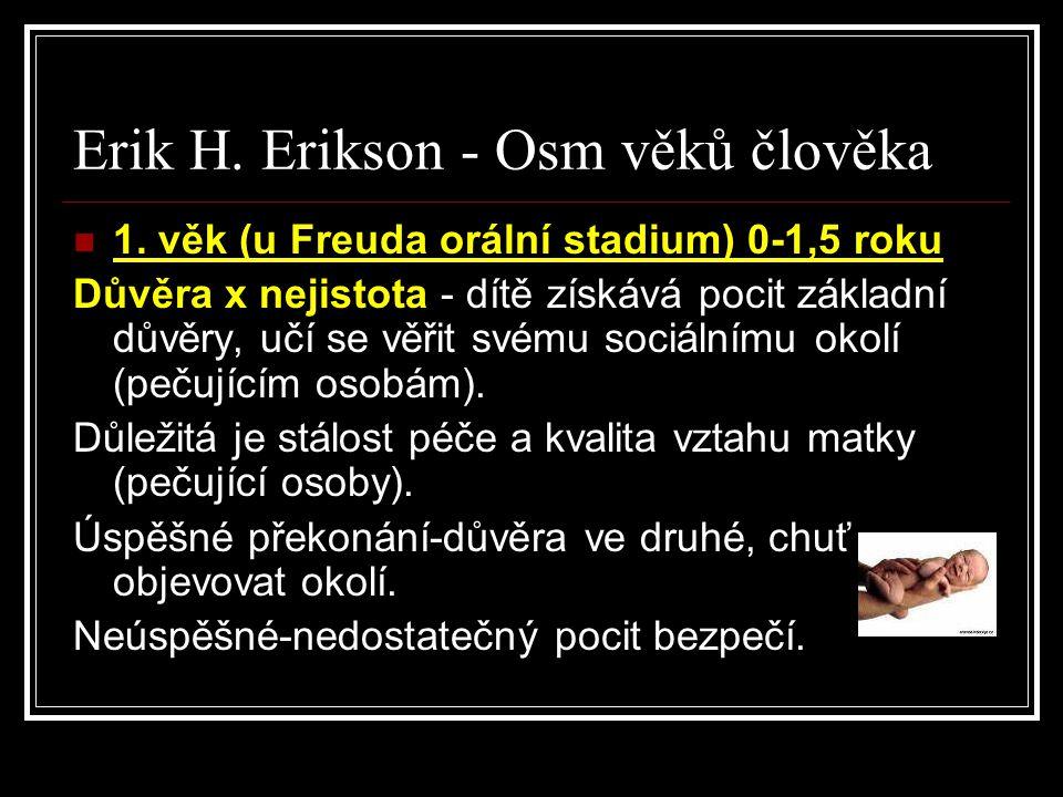 Erik H. Erikson - Osm věků člověka 1. věk (u Freuda orální stadium) 0-1,5 roku Důvěra x nejistota - dítě získává pocit základní důvěry, učí se věřit s