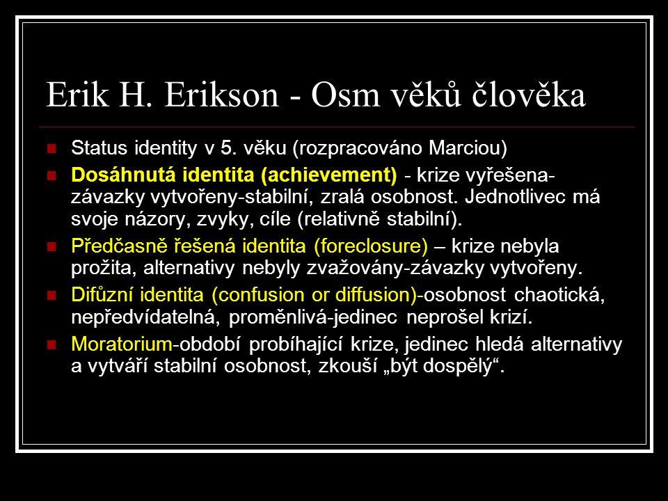 Erik H. Erikson - Osm věků člověka Status identity v 5. věku (rozpracováno Marciou) Dosáhnutá identita (achievement) - krize vyřešena- závazky vytvoře