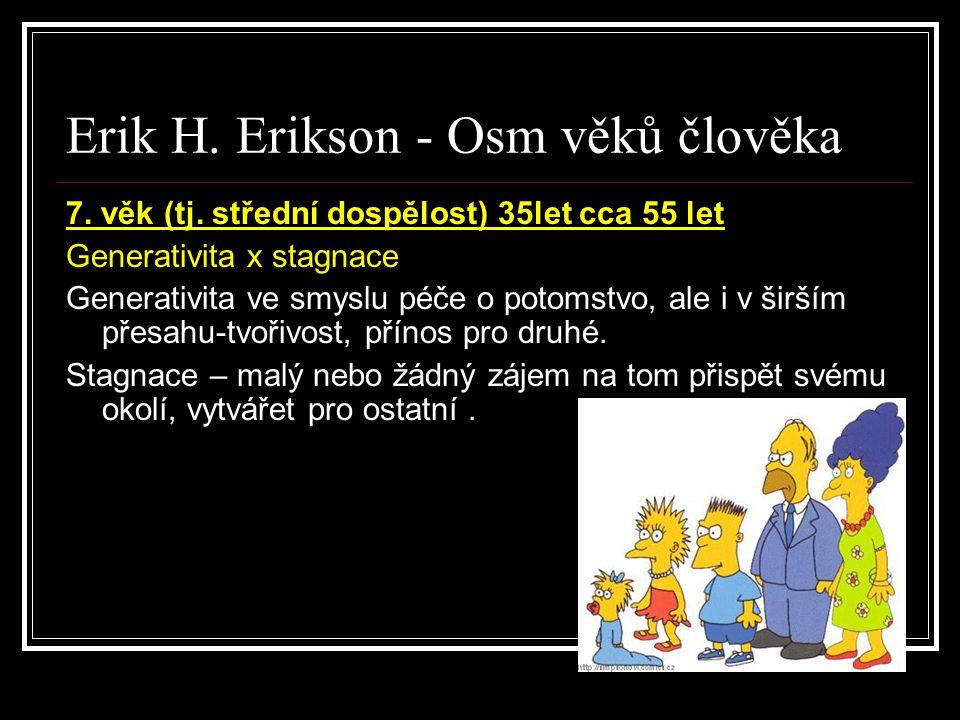 Erik H. Erikson - Osm věků člověka 7. věk (tj. střední dospělost) 35let cca 55 let Generativita x stagnace Generativita ve smyslu péče o potomstvo, al
