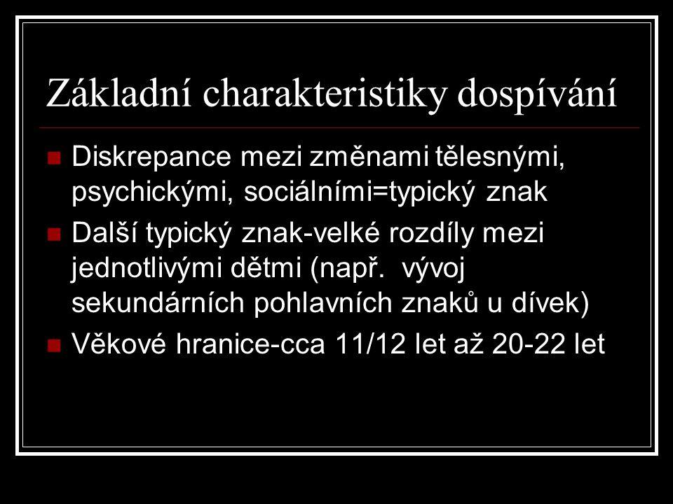 Základní charakteristiky dospívání Diskrepance mezi změnami tělesnými, psychickými, sociálními=typický znak Další typický znak-velké rozdíly mezi jedn