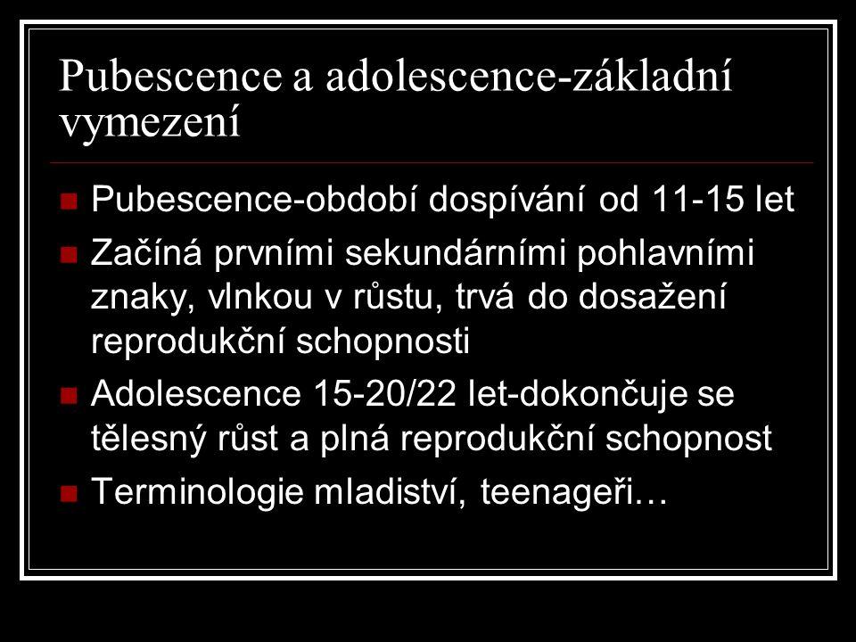 Pubescence a adolescence-základní vymezení Pubescence-období dospívání od 11-15 let Začíná prvními sekundárními pohlavními znaky, vlnkou v růstu, trvá