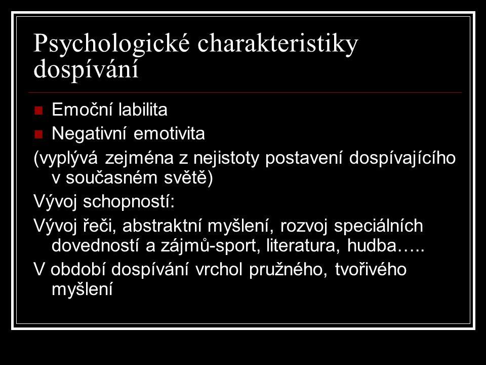 Psychologické charakteristiky dospívání Emoční labilita Negativní emotivita (vyplývá zejména z nejistoty postavení dospívajícího v současném světě) Vý