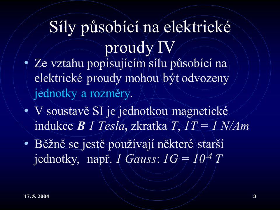 Magnetické působení dvou proudů II Proto se dělí na vztah popisující působení pole na proud (který již známe): a na vztah pro výpočet pole.