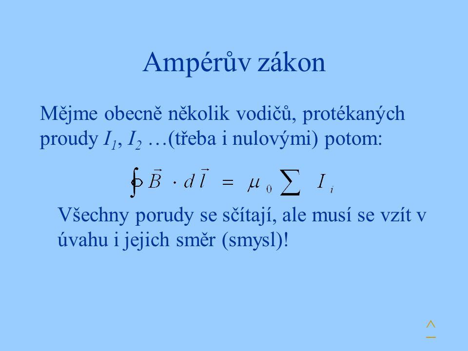 Ampérův zákon Mějme obecně několik vodičů, protékaných proudy I 1, I 2 …(třeba i nulovými) potom: Všechny porudy se sčítají, ale musí se vzít v úvahu i jejich směr (smysl).
