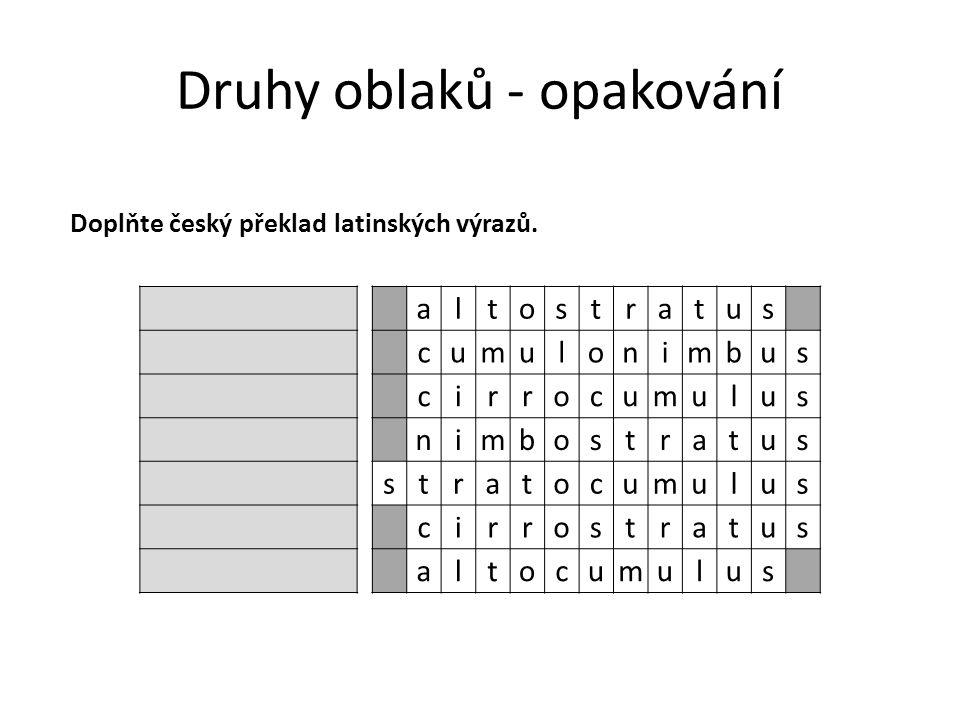 Druhy oblaků - opakování altostratus cumulonimbus cirrocumulus nimbostratus stratocumulus cirrostratus altocumulus Doplňte český překlad latinských výrazů.