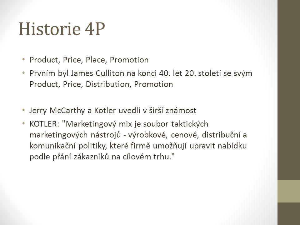 Historie 4P Product, Price, Place, Promotion Prvním byl James Culliton na konci 40. let 20. století se svým Product, Price, Distribution, Promotion Je