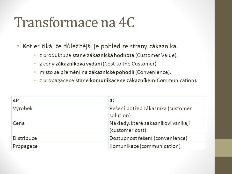 Transformace na 4C Kotler říká, že důležitější je pohled ze strany zákazníka. z produktu se stane zákaznická hodnota (Customer Value), z ceny zákazník