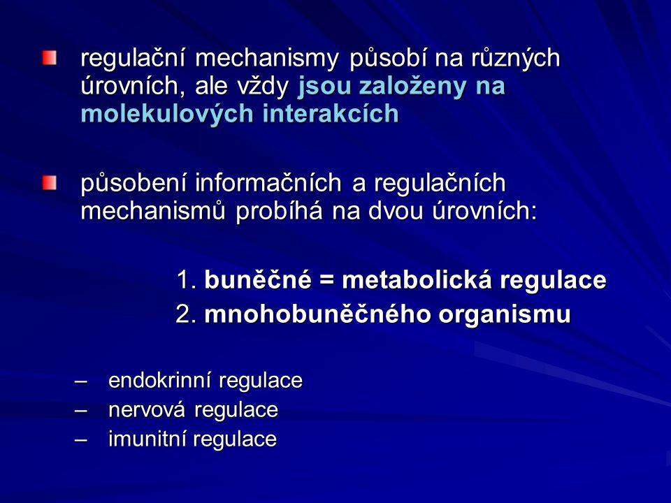 regulační mechanismy působí na různých úrovních, ale vždy jsou založeny na molekulových interakcích působení informačních a regulačních mechanismů pro