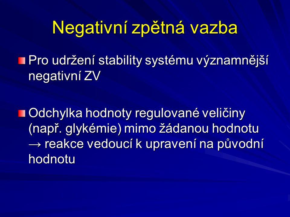 Negativní zpětná vazba Pro udržení stability systému významnější negativní ZV Odchylka hodnoty regulované veličiny (např. glykémie) mimo žádanou hodno