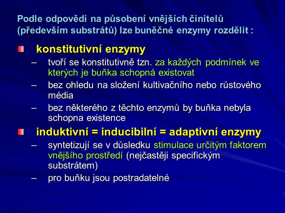 Podle odpovědi na působení vnějších činitelů (především substrátů) lze buněčné enzymy rozdělit : konstitutivní enzymy –tvoří se konstitutivně tzn. za