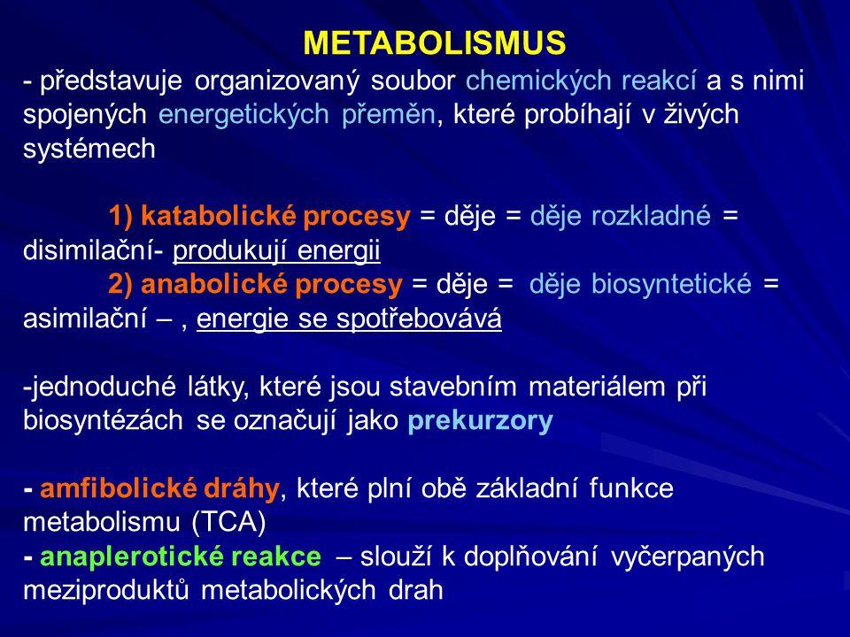 METABOLISMUS - představuje organizovaný soubor chemických reakcí a s nimi spojených energetických přeměn, které probíhají v živých systémech 1) katabo