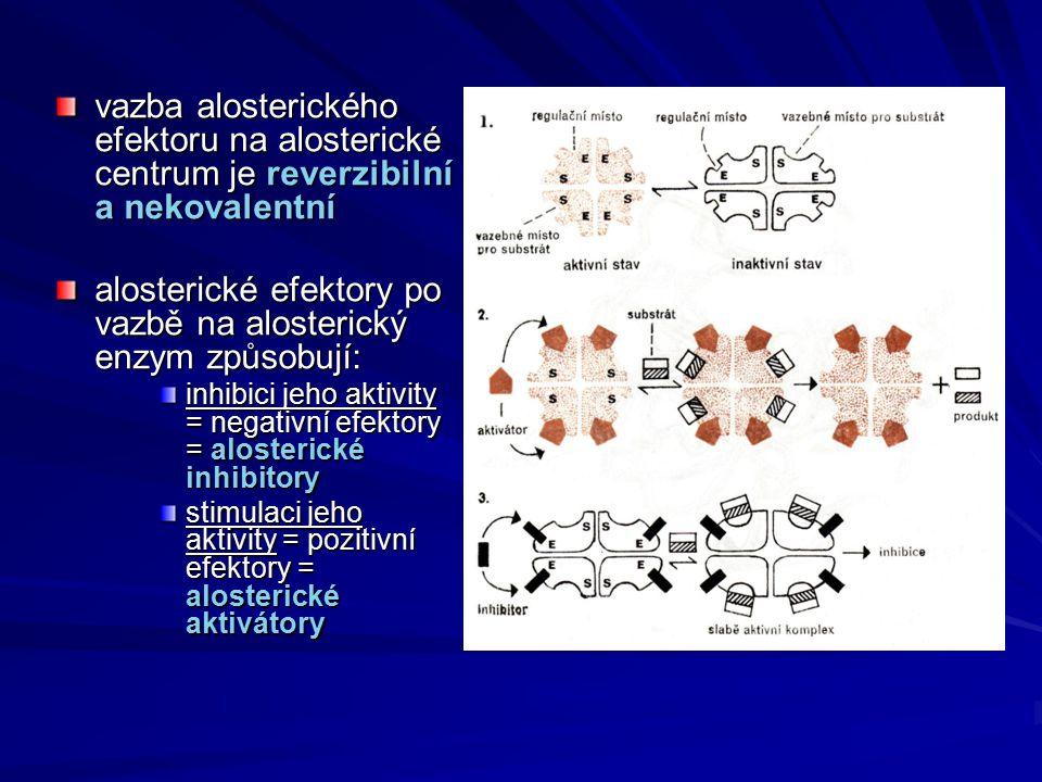vazba alosterického efektoru na alosterické centrum je reverzibilní a nekovalentní alosterické efektory po vazbě na alosterický enzym způsobují: inhib