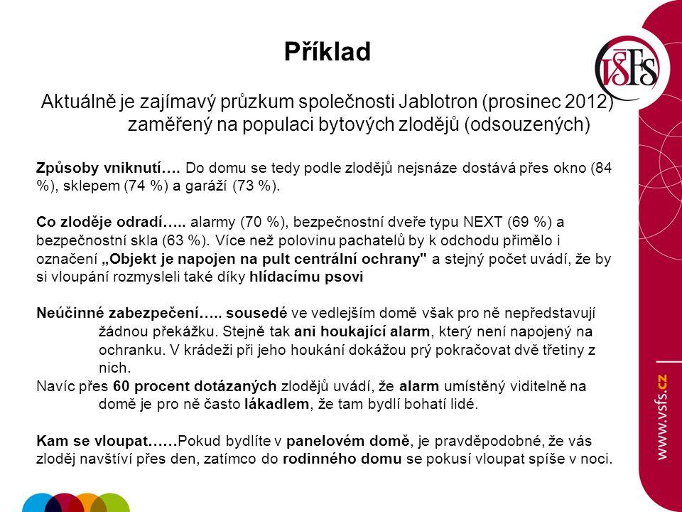 Příklad Aktuálně je zajímavý průzkum společnosti Jablotron (prosinec 2012) zaměřený na populaci bytových zlodějů (odsouzených) Způsoby vniknutí…. Do d