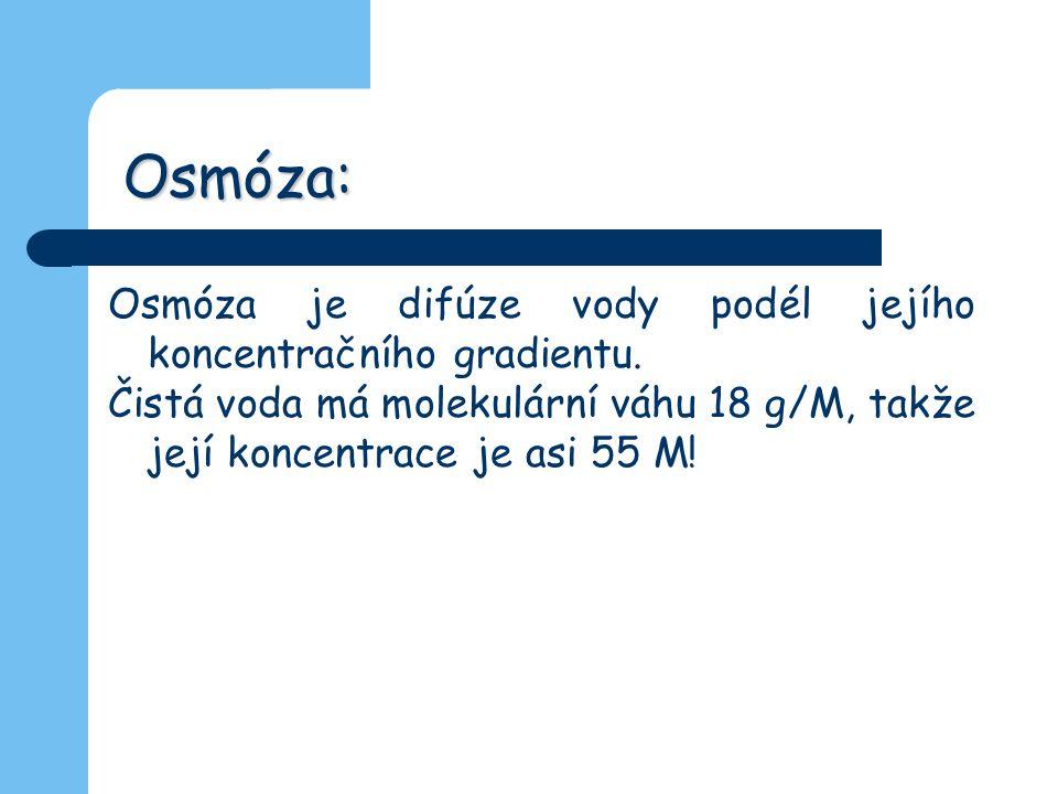Osmóza: Osmóza je difúze vody podél jejího koncentračního gradientu. Čistá voda má molekulární váhu 18 g/M, takže její koncentrace je asi 55 M!