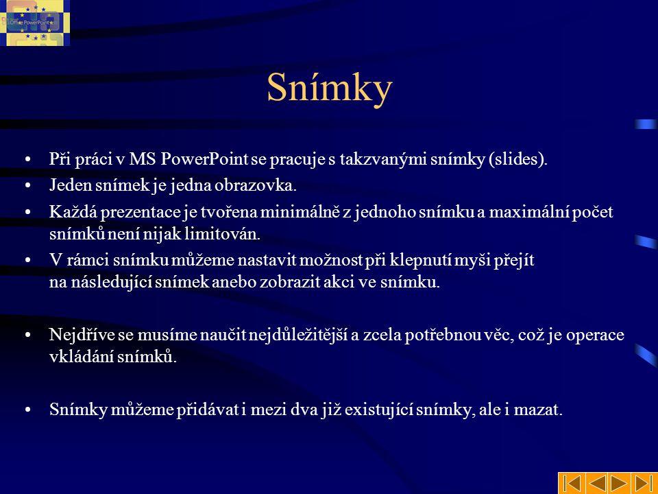 MS PowerPoint Prezentační manažer Kapitola 3.1 (Práce se snímky)