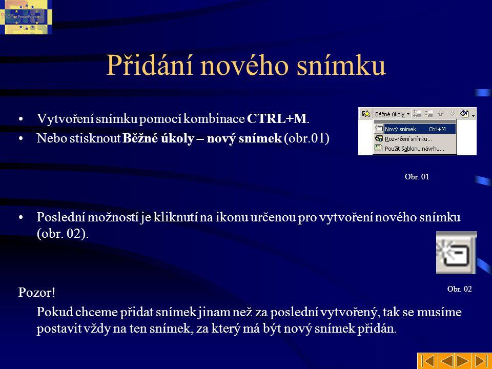 Snímky Při práci v MS PowerPoint se pracuje s takzvanými snímky (slides).