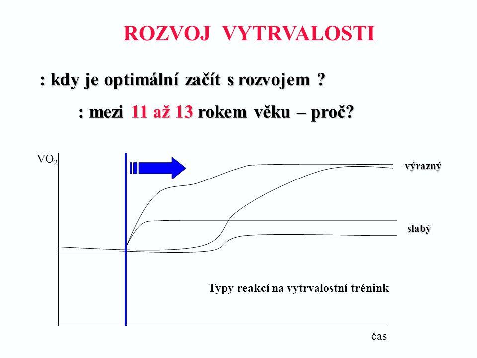 : kdy je optimální začít s rozvojem ? : mezi 11 až 13 rokem věku – proč? čas VO 2 Typy reakcí na vytrvalostní trénink slabý výrazný