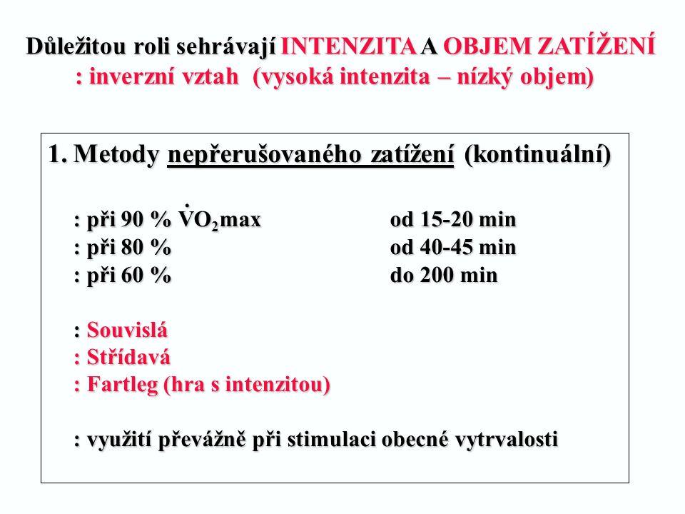 1.Metody nepřerušovaného zatížení (kontinuální) : při 90 % VO 2 maxod 15-20 min : při 80 % od 40-45 min : při 60 %do 200 min : Souvislá : Střídavá : F