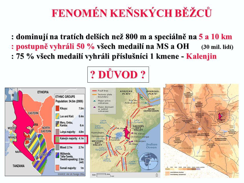 FENOMÉN KEŇSKÝCH BĚŽCŮ : dominují na tratích delších než 800 m a speciálně na 5 a 10 km : postupně vyhráli 50 % všech medailí na MS a OH (30 mil. lidí