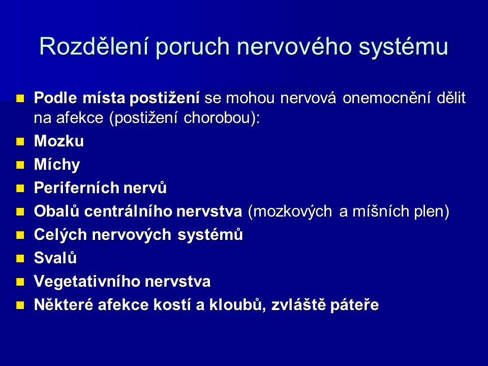 Rozdělení poruch nervového systému Podle místa postižení se mohou nervová onemocnění dělit na afekce (postižení chorobou): Podle místa postižení se mohou nervová onemocnění dělit na afekce (postižení chorobou): Mozku Mozku Míchy Míchy Periferních nervů Periferních nervů Obalů centrálního nervstva (mozkových a míšních plen) Obalů centrálního nervstva (mozkových a míšních plen) Celých nervových systémů Celých nervových systémů Svalů Svalů Vegetativního nervstva Vegetativního nervstva Některé afekce kostí a kloubů, zvláště páteře Některé afekce kostí a kloubů, zvláště páteře