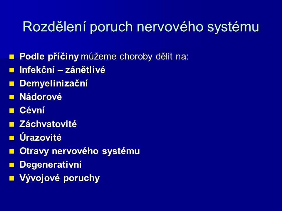 Rozdělení poruch nervového systému Podle příčiny můžeme choroby dělit na: Podle příčiny můžeme choroby dělit na: Infekční – zánětlivé Infekční – zánětlivé Demyelinizační Demyelinizační Nádorové Nádorové Cévní Cévní Záchvatovité Záchvatovité Úrazovité Úrazovité Otravy nervového systému Otravy nervového systému Degenerativní Degenerativní Vývojové poruchy Vývojové poruchy