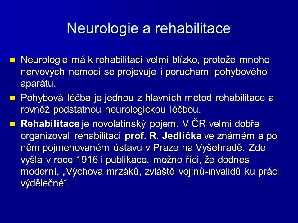 Neurologie a rehabilitace Neurologie má k rehabilitaci velmi blízko, protože mnoho nervových nemocí se projevuje i poruchami pohybového aparátu.
