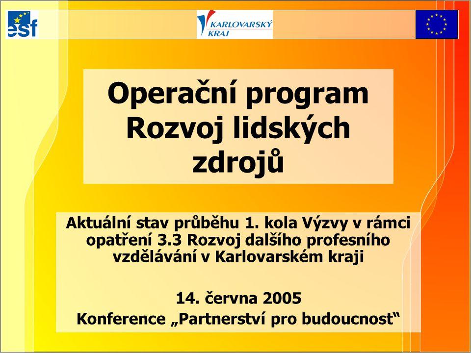 Operační program Rozvoj lidských zdrojů Aktuální stav průběhu 1. kola Výzvy v rámci opatření 3.3 Rozvoj dalšího profesního vzdělávání v Karlovarském k