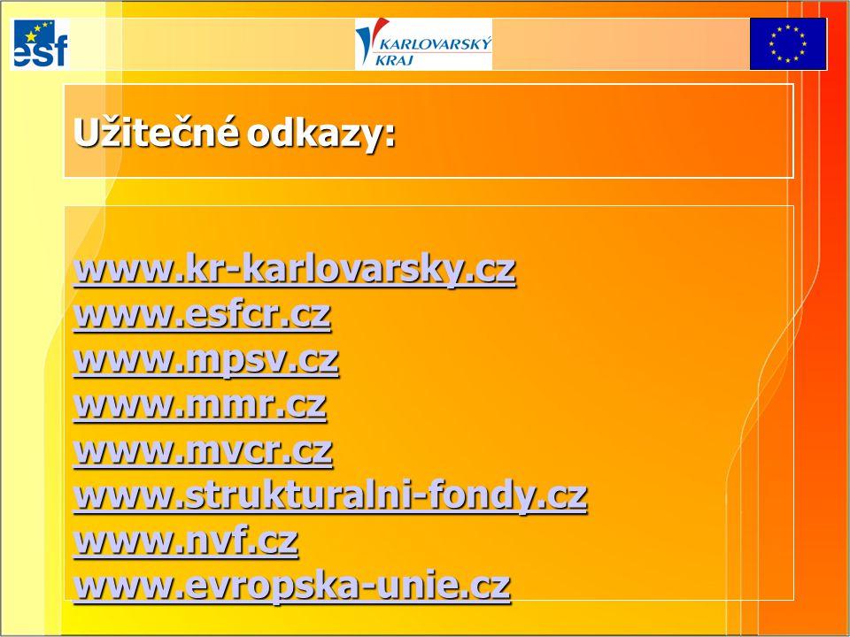 Užitečné odkazy: www.kr-karlovarsky.cz www.esfcr.cz www.mpsv.cz www.mmr.cz www.mvcr.cz www.strukturalni-fondy.cz www.nvf.cz www.evropska-unie.cz