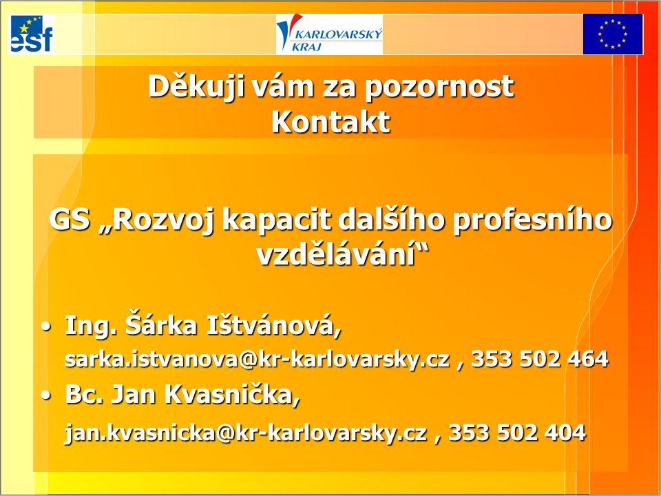 """Děkuji vám za pozornost Kontakt GS """"Rozvoj kapacit dalšího profesního vzdělávání"""" Ing. Šárka Ištvánová,Ing. Šárka Ištvánová, sarka.istvanova@kr-karlov"""