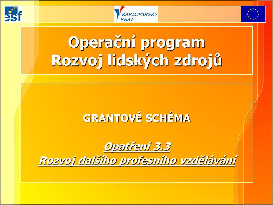 Operační program Rozvoj lidských zdrojů GRANTOVÉ SCHÉMA Opatření 3.3 Rozvoj dalšího profesního vzdělávání