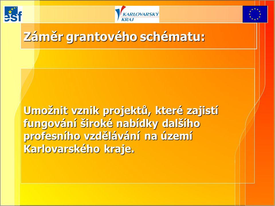Záměr grantového schématu: Umožnit vznik projektů, které zajistí fungování široké nabídky dalšího profesního vzdělávání na území Karlovarského kraje.
