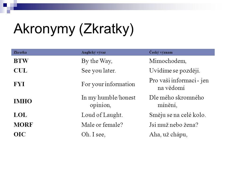 Akronymy (Zkratky) ZkratkaAnglický výrazČeský význam BTWBy the Way,Mimochodem, CULSee you later.Uvidíme se později.