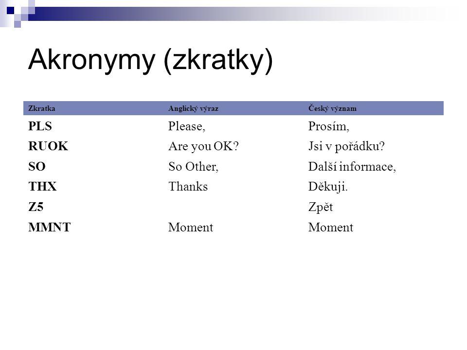Akronymy (zkratky) ZkratkaAnglický výrazČeský význam PLSPlease,Prosím, RUOKAre you OK?Jsi v pořádku.
