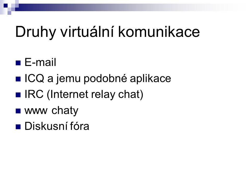 Druhy virtuální komunikace E-mail ICQ a jemu podobné aplikace IRC (Internet relay chat) www chaty Diskusní fóra