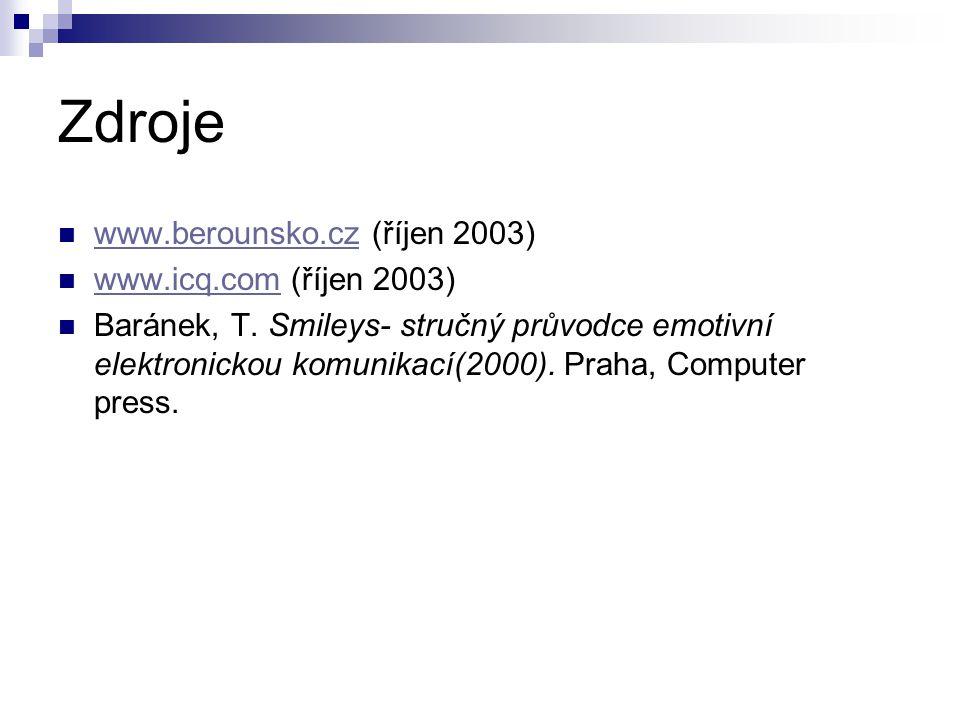 Zdroje www.berounsko.cz (říjen 2003) www.berounsko.cz www.icq.com (říjen 2003) www.icq.com Baránek, T.