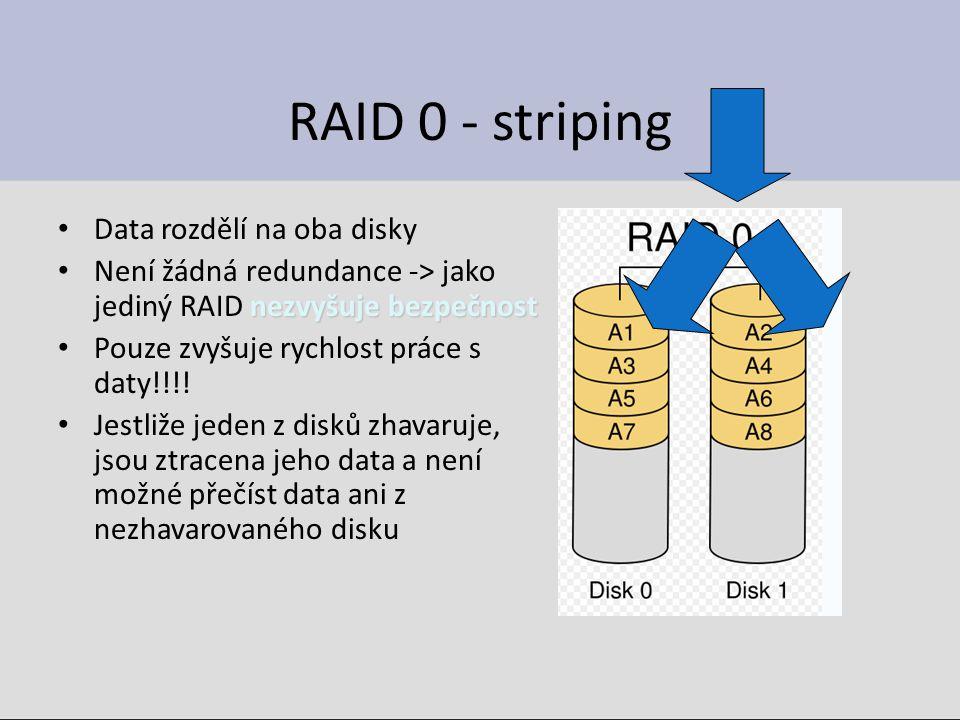 RAID 0 - striping Data rozdělí na oba disky nezvyšuje bezpečnost Není žádná redundance -> jako jediný RAID nezvyšuje bezpečnost Pouze zvyšuje rychlost práce s daty!!!.