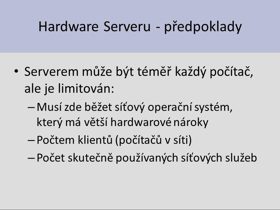 Hardware Serveru - předpoklady Serverem může být téměř každý počítač, ale je limitován: – Musí zde běžet síťový operační systém, který má větší hardwarové nároky – Počtem klientů (počítačů v síti) – Počet skutečně používaných síťových služeb