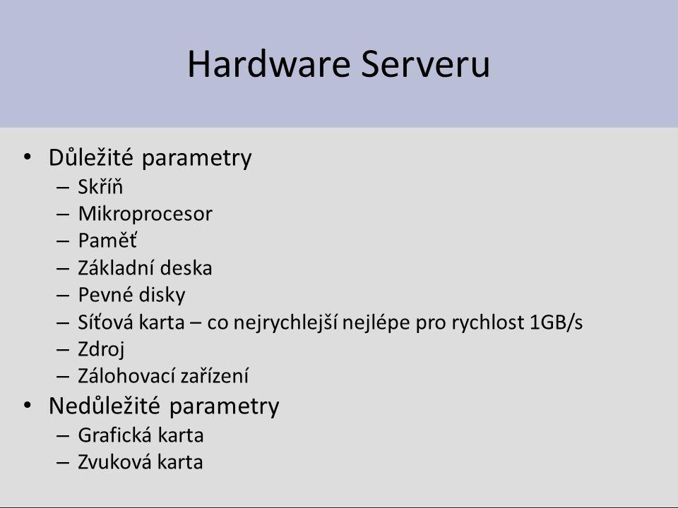 Hardware Serveru Důležité parametry – Skříň – Mikroprocesor – Paměť – Základní deska – Pevné disky – Síťová karta – co nejrychlejší nejlépe pro rychlost 1GB/s – Zdroj – Zálohovací zařízení Nedůležité parametry – Grafická karta – Zvuková karta