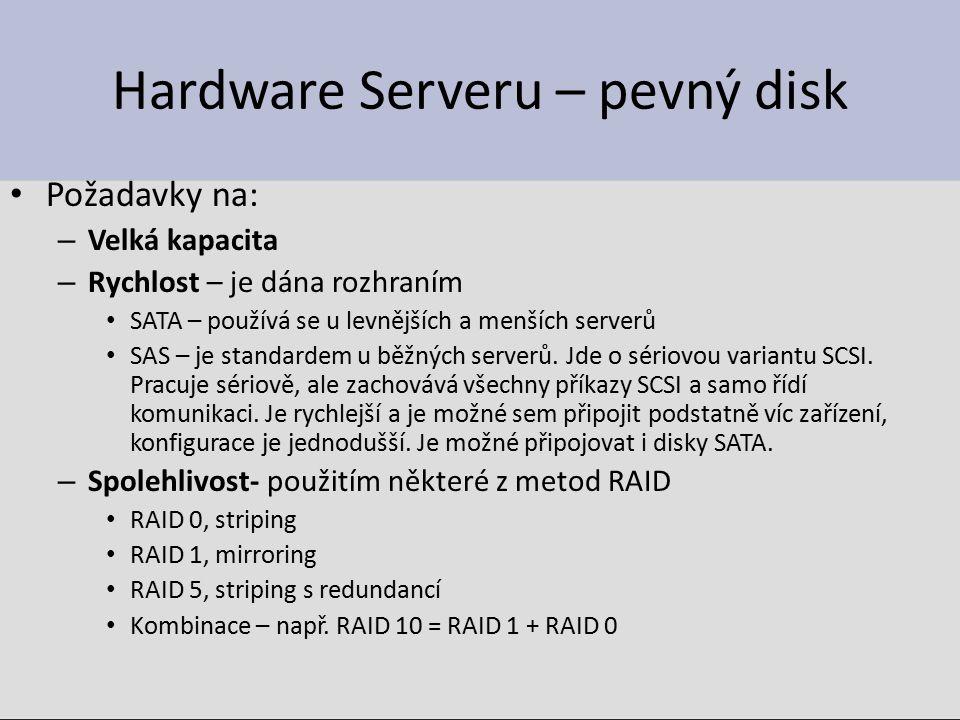 Hardware Serveru – pevný disk Požadavky na: – Velká kapacita – Rychlost – je dána rozhraním SATA – používá se u levnějších a menších serverů SAS – je standardem u běžných serverů.