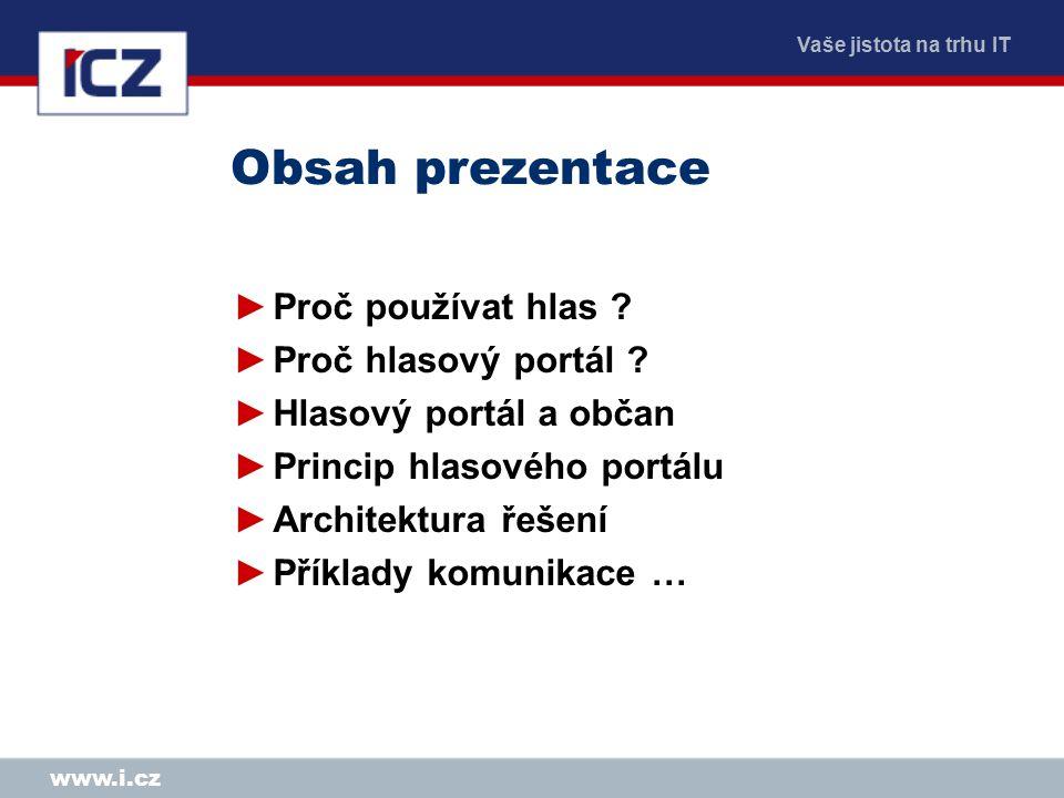 Vaše jistota na trhu IT www.i.cz Příklad komunikace ….