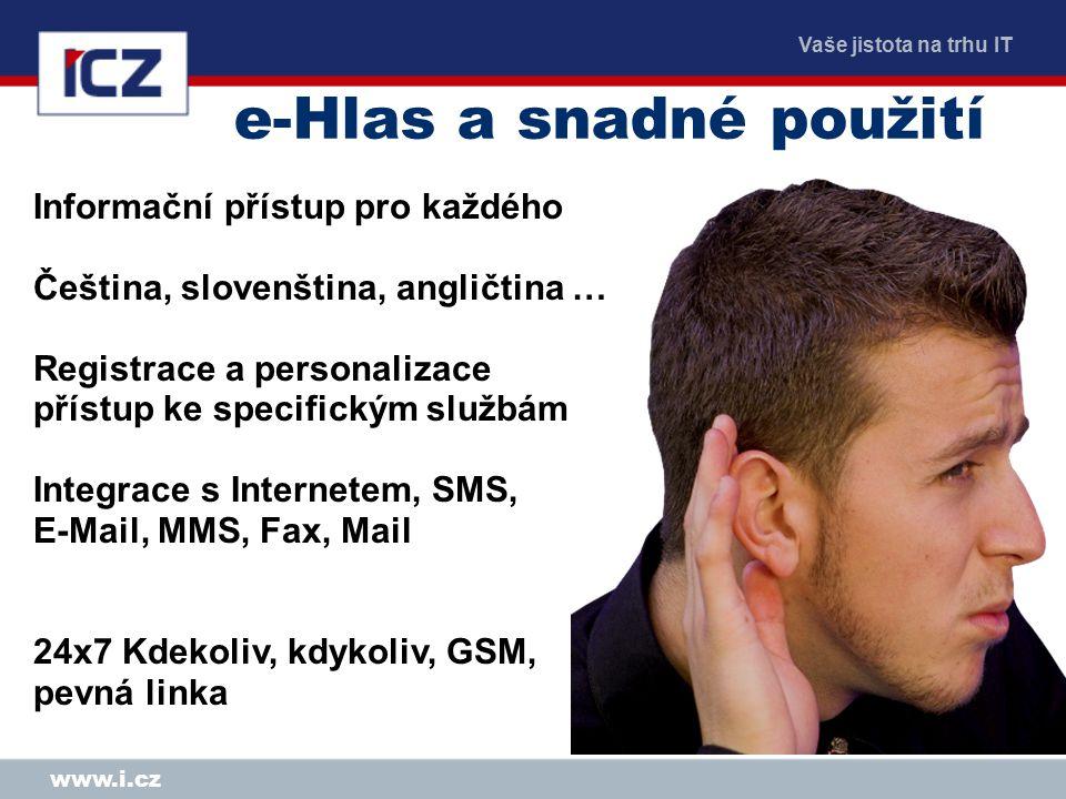 Vaše jistota na trhu IT www.i.cz Proč hlasový portál.