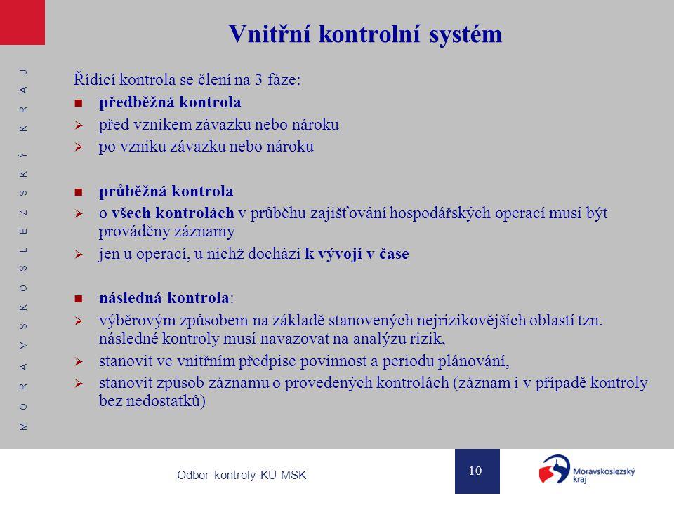 M O R A V S K O S L E Z S K Ý K R A J 10 Odbor kontroly KÚ MSK Vnitřní kontrolní systém Řídící kontrola se člení na 3 fáze: předběžná kontrola  před