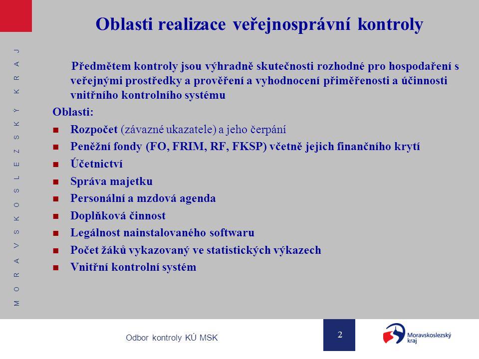 M O R A V S K O S L E Z S K Ý K R A J 2 Odbor kontroly KÚ MSK Oblasti realizace veřejnosprávní kontroly Předmětem kontroly jsou výhradně skutečnosti r
