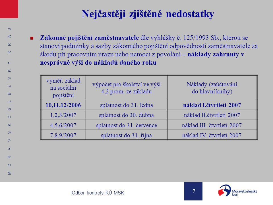 M O R A V S K O S L E Z S K Ý K R A J 7 Odbor kontroly KÚ MSK Nejčastěji zjištěné nedostatky Zákonné pojištění zaměstnavatele dle vyhlášky č. 125/1993